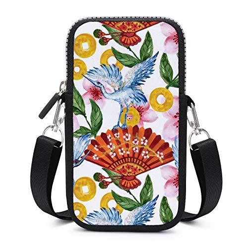 Bolso bandolera para teléfono móvil con correa de hombro extraíble, diseño de pájaros de acuarela y flores anticaídas para llaves, pulsera de gimnasio, fitness, unisex