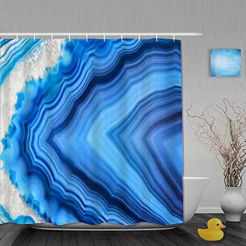 BCVHGD Cortina de Baño,Mineral Increíble Ágata Azul Cristal Mineralogía Sección Naturaleza Roca Gema Piedra de Cuarzo,Cortinas de Ducha con 12 Ganchos de plástico 180 * 200cm