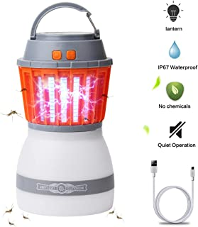 AVJONE [Upgraded] Mosquito Lamp 4 Light Modes Quiet Bug Zapper Portable IPX67 Waterproof Mosquito Zapper Outdoor LED Lantern Rechargeable Mosquito Light with USB Cable