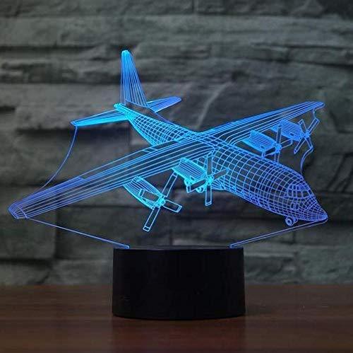 Luz de la noche gradiente Led 3D Visual Creativo Colorido de Aviones Lámpara de Mesa Decoración de Gradiente de Aire Plano de Luz Luminaria USB Habitación de Bebé Dormir Luz de Noche Regalos