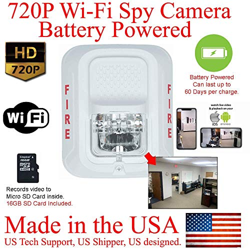 %25 OFF! SecureGuard WiFi 60 Day Battery Powered 720P Fire Alarm Strobe Light Hidden Spy Camera (New...