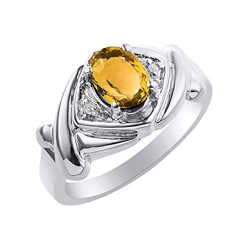 RYLOS Anillos para mujer de oro blanco de 14 quilates – Anillo de diamante y citrino – XO Hugs & Kisses – Anillo de piedra natal de 7 x 5 mm de color piedra preciosa joyería para mujer anillos de oro
