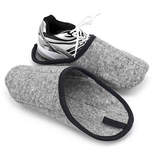 Pantoffelmann Museumspantoffel grau L - mit ABS-Sohle