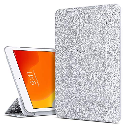 ULAK iPad 10.2 Case, Glitter iPad 8th Generation Case Cover, Slim Lightweight Trifold Stand/Auto Sleep/Wake Smart Cover, PU Leather Protective Case for Apple iPad 10.2 Inch 2020/2019, Silver