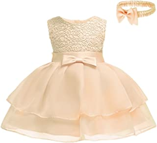 107222c42660 HX Baby Girls Princess Sleeveless Lace Bowknot First Birthday Christening  Baptism Special Occasion Dresses with Headband