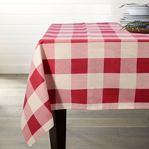 Lamberia Tablecloth Heavyweight Vintage Burlap Cotton Tablecloths for Rectangle Tables, 60-Inch-by-104, Red and White Checkered, Seats 10 to 12 People