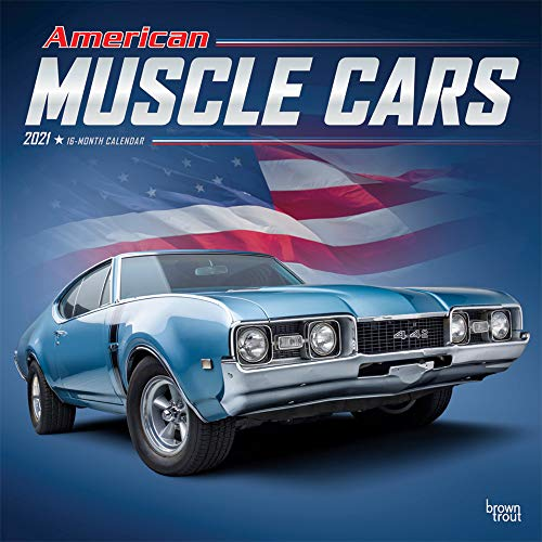 American Muscle Cars 2021 12 x 12 Inch Monthly Square Wall Calendar with Foil Stamped Cover, USA Motor Ford Chevrolet Chrysler Oldsmobile Pontiac