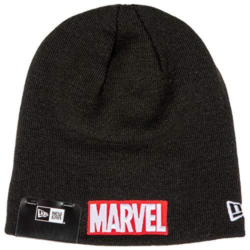 New Era Gorro de malha com logotipo de texto vermelho da marca Marvel
