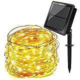 Tobbiheim Solar Lichterkette Super Lange Arbeitszeit mit USB Ladung Doppelladung 200 LED 22 Meter Kupferdraht 8 Modi Beleuchtung Wasserdicht IP65 für Garten, Terrase, Balkon - Warmweiß (200LED)