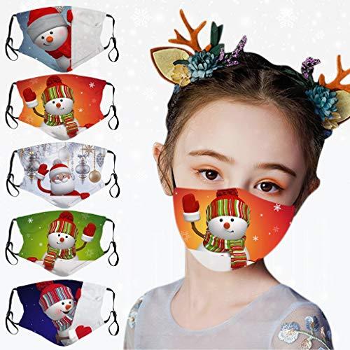 5 Stück Kinder Mundschutz Weihnachten Waschbar Cartoon Schneemann drucken Mund-Nasenschutz Atmungsaktiv Halstuch Bandana Jungen und Mädchen Outdoor (A)