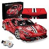 Ice-Beauty-ukzy Coche de carreras Technic Ferrari 488 pista, 3187 piezas, 2,4 G, teledirigido 1:8, modelo de coche deportivo, juguete de construcción compatible con LegoFerrari