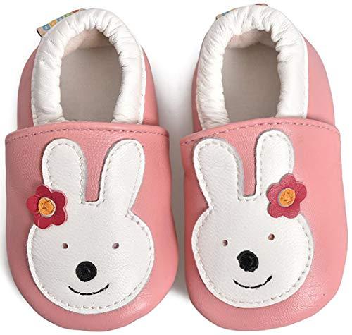 JACKSHIBO Lauflernschuhe Hausschuhe Baby Jungen Mädchen Krabbelschuhe Kleinkind Babyhausschuhe Weicher Rutschfesten, 18 Hase 18-24 Monate