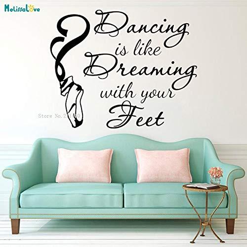 zqyjhkou Bailar es como Usar un pie en un Mercado de ensueño Apliques de Pared Apliques Bailarina Bailarina Zapatillas de Ballet Zapatillas de Vinilo rotulación 62.4X50.4CM