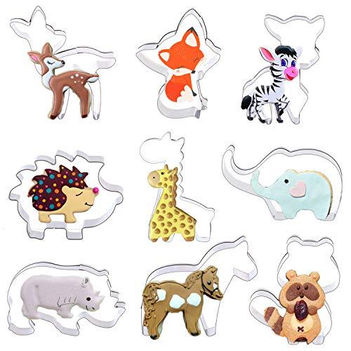 Orapink Ausstechformen Tiere Formen 9 Stück Edelstahl Ausstecher Set zum Backen - Fuchs, Giraffe, Eichhörnchen, Igel, Elch, Sikahirsch, Pferd, Nashorn und Elefant