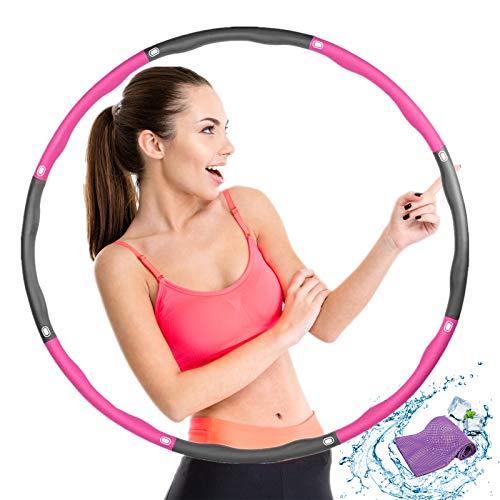 Rwest X Fitness Hula Hoop, Hula Hoop Reifen Erwachsene Die Zur Gewichtsreduktion und Massage, 8 Teiliger Abnehmbarer Hula-Hoop-Reifen für Fitness/Training/Sport/Zuhause, mit Kaltes Handtuch (0.95kg)