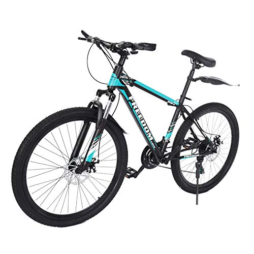 26 Inch 21 Speed Aluminum Full Mountain Bike for Men & Women | Full Suspension MTB City Commuter Bike Road Bike Outroad Mountain Bike | Outdoor Cycling Outroad Commute for Adults Teens & Kids (Blue)