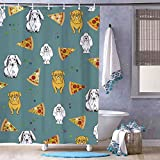 Free Brand Geschenkpapier Kunst Pizza H& Muster Duschvorhang – geruchloses Dekor Badezimmer Liner – Stoff Bad Vorhang für Badezimmer Dusche Stall Badewannen wasserdichter Vorhang Liner 183 x 183 cm