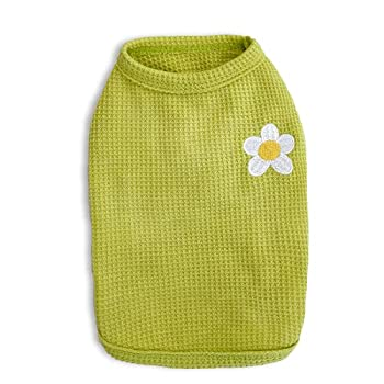 Loyanyy 2 Pieces Dog Summer Vest Waffle Knit Dog Shirt Breathable T-shirt for Small Medium Dog Cat Stretchy Cute Puppy Kitten Sleeveless Vest Cat Dog Clothes Green Small