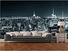 WH-PORP Papel pintado retro blanco y negro personalizado New York Manhattan Skyline papel pintado 3D para la sala de estar-350cmx245cm