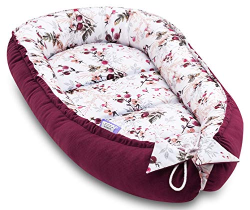 JUKKI® VELVET Babynest Babynestchen 50x90 cm Babykokon, 2seitig, 100% Baumwolle, Kissen, Nestchen für Babybett, Kuschelnest, Reisebett für Baby und Säuglinge