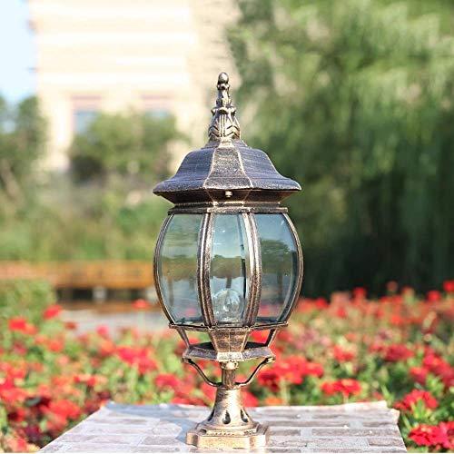 ZZYJYALG Loft Decoración Columna Luz Poste Iluminación Al Aire Libre Bolardo de luz con Linterna de Vidrio...