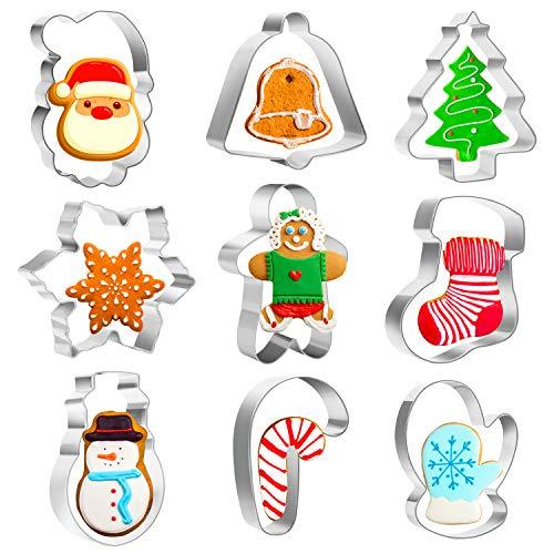 Emporte-pièces de Noël en Acier Inoxydable, Lot de 9 Arbre de Noël Flocon de Neige et Autres Formes pour Décoration de Fondant Biscuit Cookie Pâtisserie