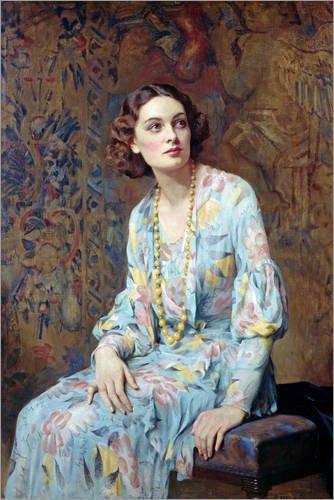 Hartschaumbild 20 x 30 cm: Porträt Einer Dame von Albert Henry Collings/Bridgeman Images