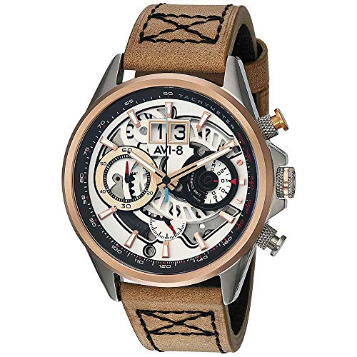 AVI-8 Men's 44mm Brown Genuine Leather Band Steel Case Quartz Silver-Tone Dial Watch AV-4065-02