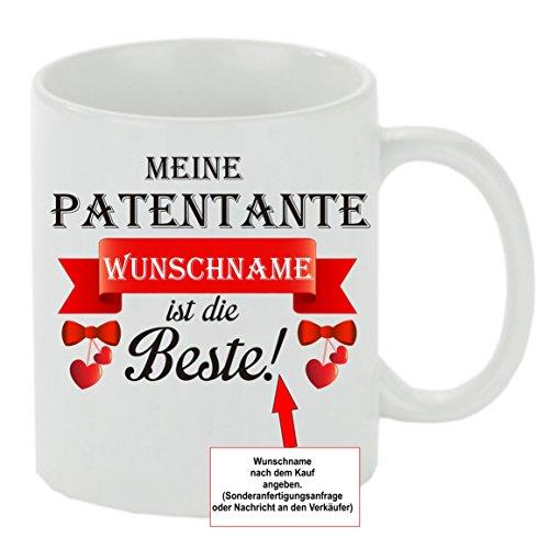 Creativ Deluxe Kaffeebecher Meine Patentante Wunschname ist die Beste! Kaffeetasse mit Motiv, Bedruckte Tasse mit Sprüchen oder Bildern - auch individuelle Gestaltung
