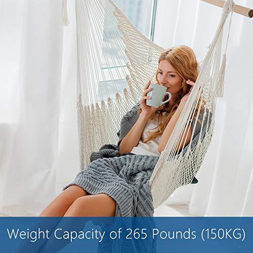 Anten HängesesselHängestuhlaus Baumwollseil,Handgefertigte Fransenkante Einzelstuhl,für Erwachsene Kinder,Innen Draussen Garten,Belastbar bis 150 kg - 4