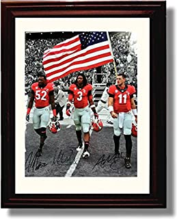 Framed Georgia Bulldogs 2014 Captains Aaron Murray, Amarlo Herrera & Todd Gurley Autograph Replica Print