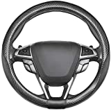 SEG Direct Car Steering Wheel Cover Universal Standard-Size 14 1/2''-15'' Leather with Carbon Fiber Pattern Black