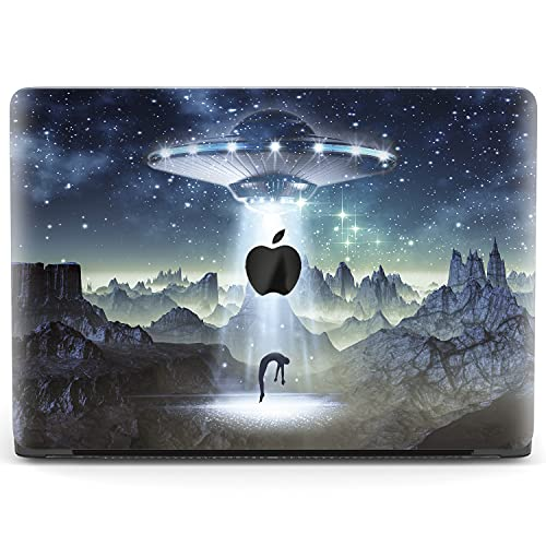Mertak Hard Case Compatible with MacBook Pro 16 Air 13 inch Mac 15 Retina 12 11 2020 2019 2018 2017 Science Fiction Plastic Cover Spaceship UFO Touch Bar Alien Abduction Stars Clear Laptop