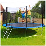 AZcczzii 12 FT Kid Recreational Safety Enclosure Net Trampolines, Adult Fitness Trampoline Indoor or Outdoor Folding Trampolines (Blue)