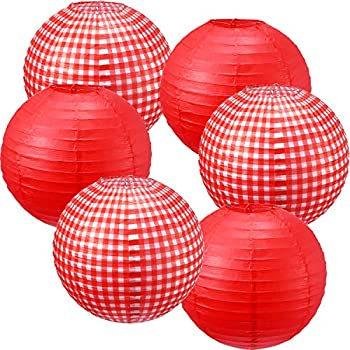 Picnic Party Decorations Paper Lanterns Round Hanging Lanterns Picnic Party Lanterns for Summer Barbecue Birthdays Holidays Picnic Party Supplies  White and Red Plaid Pure Red 6 Pieces