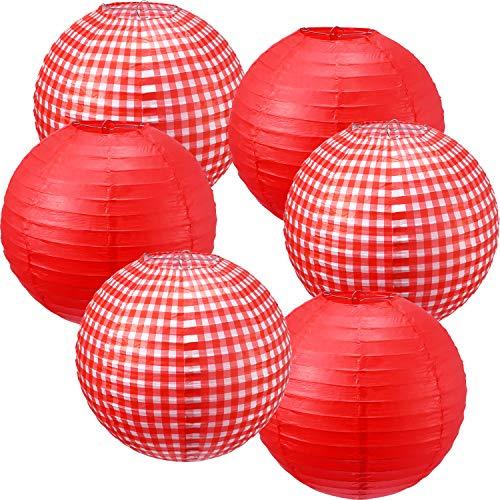 Blulu 6 Piezas Linternas de Papel Linternas Colgantes Linternas de la Fiesta de Picnic para cumpleaños Decoraciones Festivas (A Cuadros Blancos y Rojos, Rojo Puro)