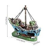 UEETEK Fish Tank Zubehör Schiff Aquarium Ornament Dekoration für kleine Fische Garnelen Cichild Schildkröte - 3