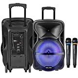 Vocal-Star Portable PA Speaker System with Bluetooth, Bass & Treble,Led Light Effect, USB & Aux Input for MP3, 12' 300w & 2 Wireless Microphones (VS-CX12)