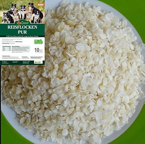 LuCano 10 kg Reisflocken pur | auch für Hunde als Barf Ergänzungsfutter Hundefutter/Hundeflocken, Barfflocken