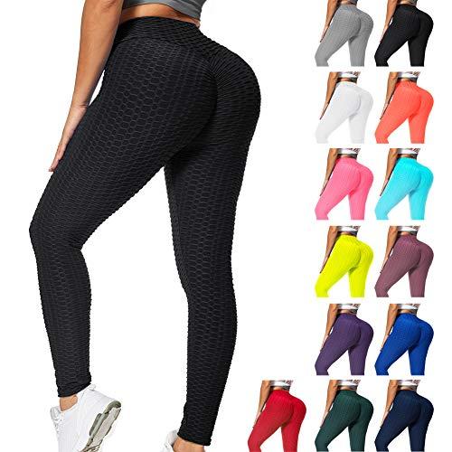 RIOROO Damen Leggings High Waist Kompressions Push Up für Sport, Yoga und Gym, Leggings Schwarz Fitnesshose mit Bauchkontrolle Sexy Fitnesshose,L