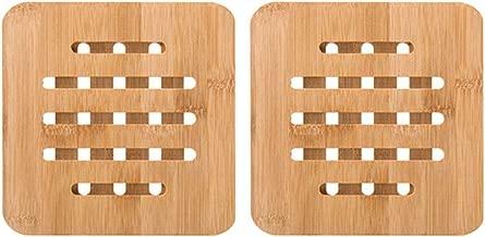 BESTONZON 2PCS Bamboo Trivet Mat Heat Resistant Cup Coasters Hot Pot Holder Pads Multifunctional Kitchen Tool (Square)