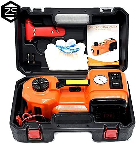 KAUTO 5T(11023lb) Hydraulik-Wagenheber-Kit für Elektroauto, 12-V-DC-Wagenheber, LED-Taschenlampe und Reifenfüllerpumpe, 3-in-1-Multifunktions-Notfall-Auto-Werkzeugsatz