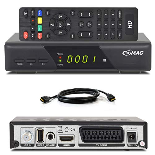 Comag HD25 Volks-Receiver + HDMI Kabel HDTV HD Satelliten Receiver Sat schwarz + USB 2.0, DVB-S2, HDMI, SCART + HDMI EasyFind Easy Find 1080p digital digitaler Satellitenreceiver