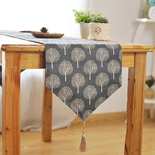 JYEW Washable Table Runners,Elegant Modern Cotton Linen Navy Tree Tablecloth With Long Tassels Rustic Boho Romantic French Farmhouse Fresh Tabletop Home Decor,30X220Cm