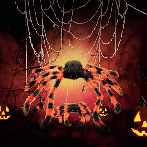 GiBot Halloween Ornaments 12 Feet FT Mega Round Spider Web and 2pcs Fake Plush Big Spider Props Scary Halloween Garden Doors and Outdoor Decorating with Super Elastic Spider Web Halloween Decoration Party