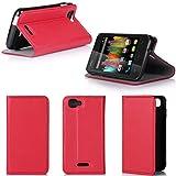 XEPTIO Wiko Kite 4G Tasche Leder Hülle rot Cover mit Stand - Zubehör Etui Wiko Kite 4G LTE Flip Case Schutzhülle (PU Leder, Handytasche red) Accessories