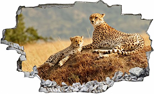 DesFoli Leopard Gepard 3D Look Wandtattoo 70 x 115 cm Wanddurchbruch Wandbild Sticker Aufkleber C297