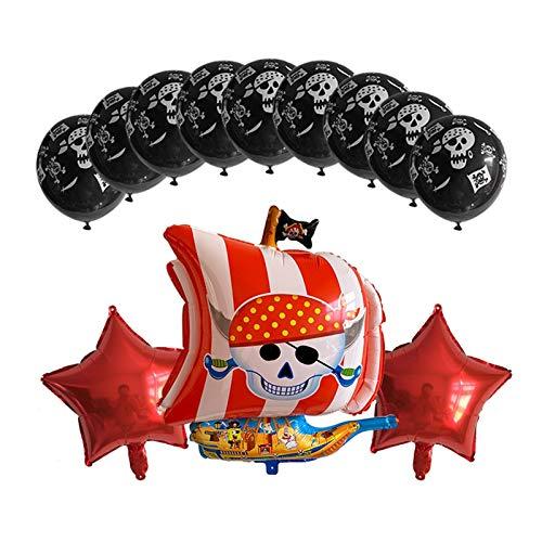 XMCHE Globo de látex Decoración Globos del cráneo del Pirata de Halloween Decoración Globo Inflable Bola Aire bebé Ducha Partido Feliz cumpleaños (Color : Ruby)