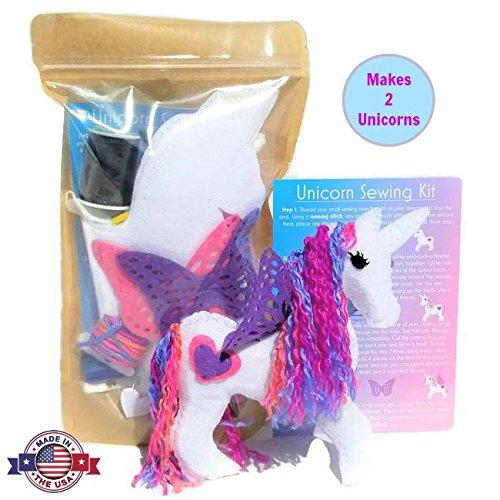 Wildflower Toys Unicorn Sewing Kit for Girls - Felt Craft Kit for Beginners - Makes 2 Glitter White Felt Stuffed Unicorns