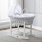 MCC Full Set White Wicker Moses Basket With Mattress, Cover and Rocking Stand by MCC (White Wicker Standard)